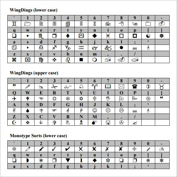 Sample Wingdings Chart   Free Documents Download In Pdf