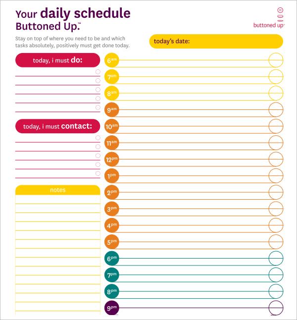 10 Sample Daily Calendar Templates Sample Templates