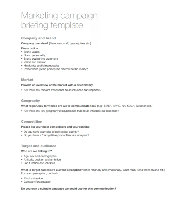 sample marketing campaign template 8 free documents in