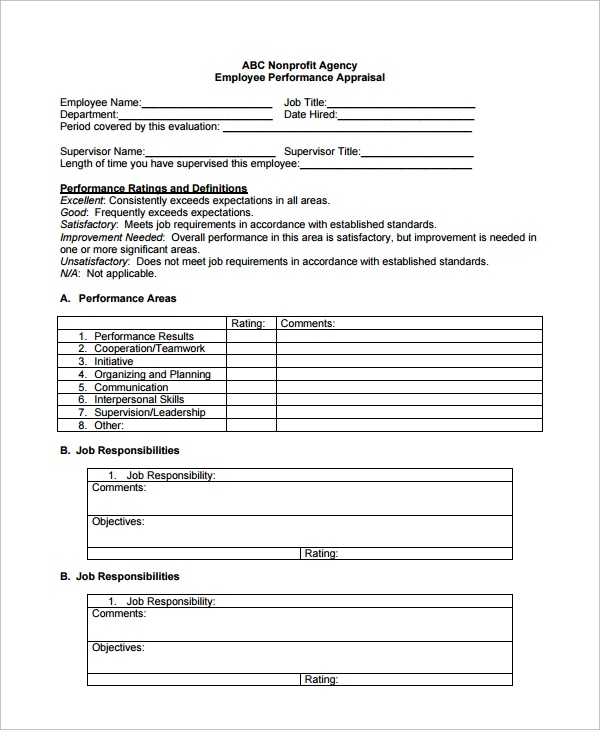 Sample Employee Performance Evaluation Template   Free Documents