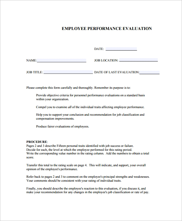corporate employee performance evaluation template