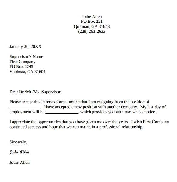 Resignation letter 2 week notice