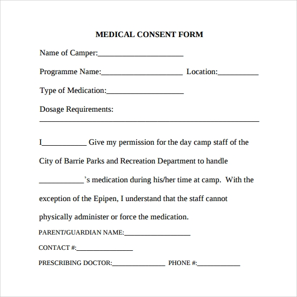 surgery consent form template - 7 sample medical consent forms to download sample templates
