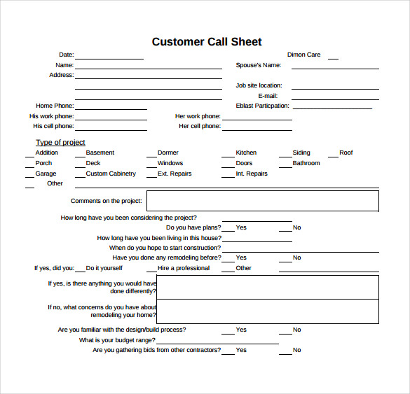 customer call sheet pdf template free download