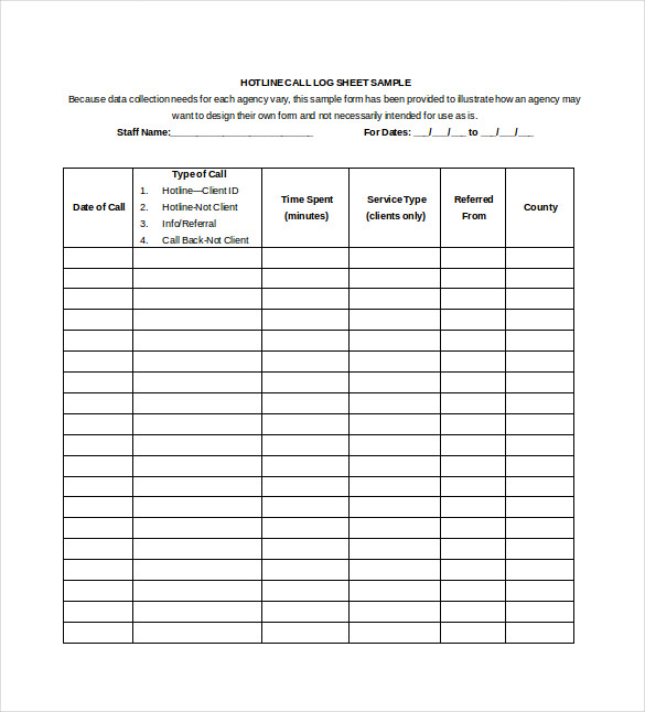 Call Log Template Pdf Call Sheet Template  Free Project Log
