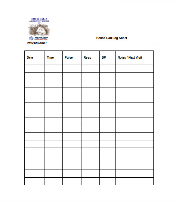 house call log sheet free word template download