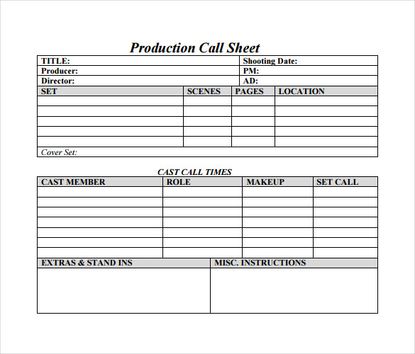 12 Sample Call Sheet Template to Download | Sample Templates