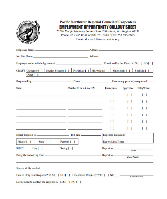 sample employers call out sheet pdf free download