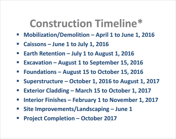 Sample Construction Timeline Template 6 Free Documents in PDF – Construction Timeline Template