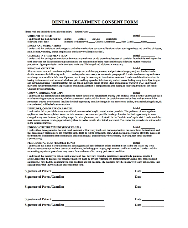 Sample Dental Consent Form   Documents In Pdf