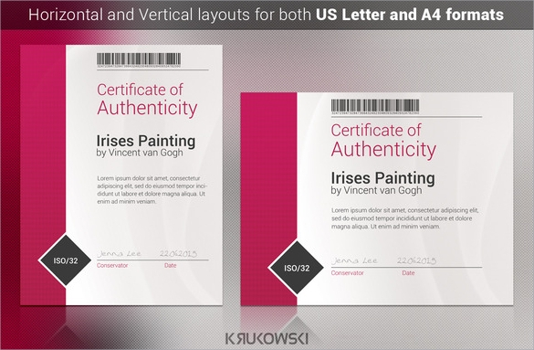 certificate of authenticity psd