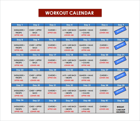 workout calendar download