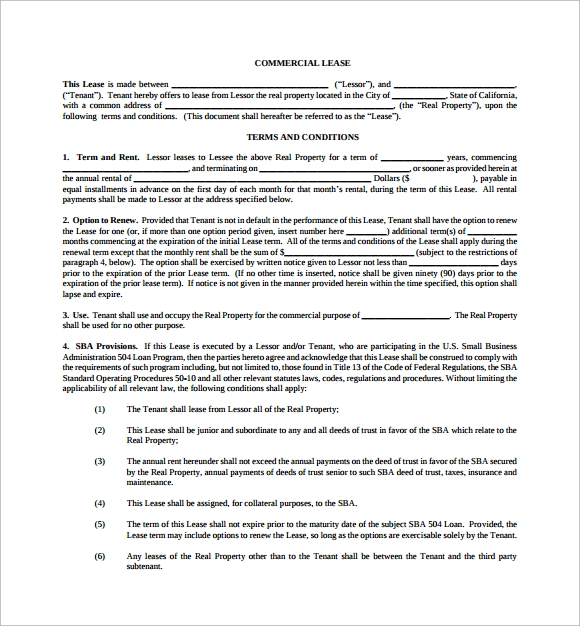 commercial lease business form