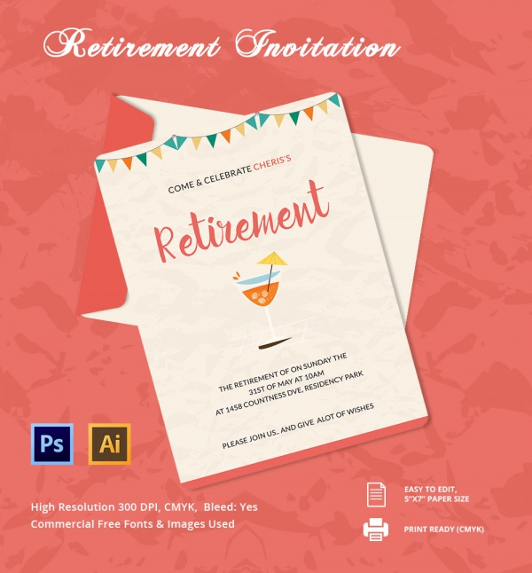 Retirement Party Invitations  Psd Ai