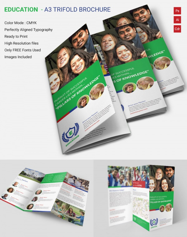 School brochure 22 download in psd vector pdf for Educational brochure templates