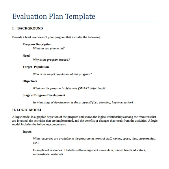 example of evaluation plan template