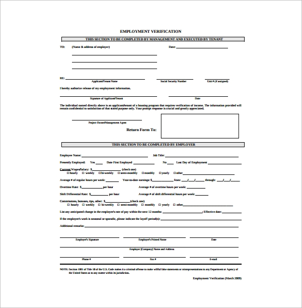 Doc12851660 Printable Employment Verification Form Blank – Proof of Employment Form
