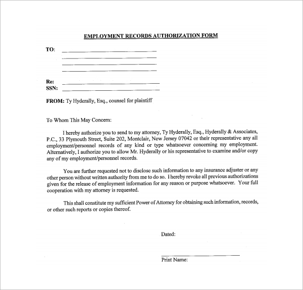 Sample Employment Authorization Form - 4+ Free Documents Download