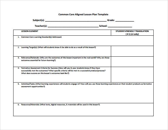 Common Core Lesson Plan Template   Download Documents In Pdf