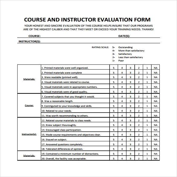 Instructor Evaluation Form 7 Download Free Documents in PDF – Instructor Evaluation Form
