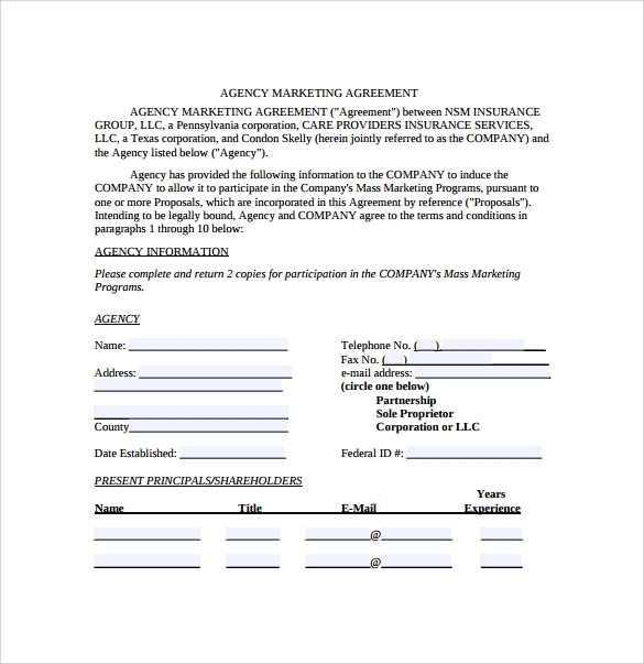 marketing agreement template 6 download free documents in pdf