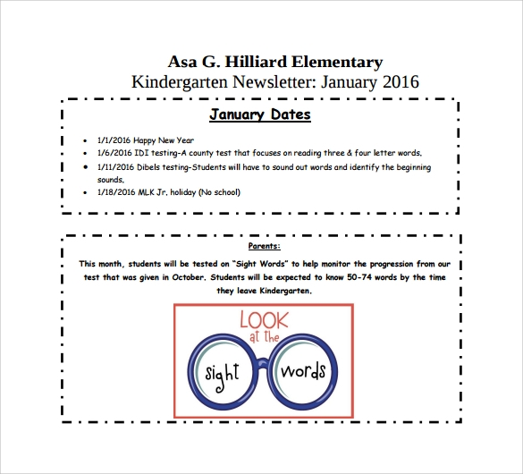Kindergarten Newsletter Templates  Free Sample Example Format