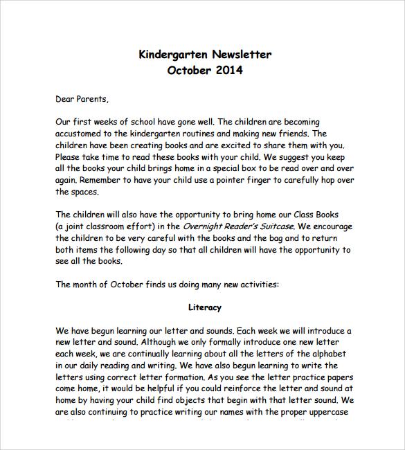 Sample Kindergarten Newsletter Templates Sample Templates - Children's newsletter template