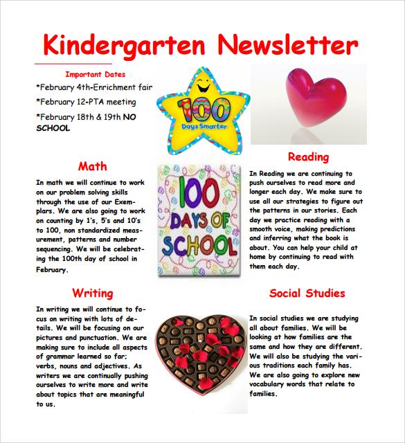 simple kindergarten newsletter