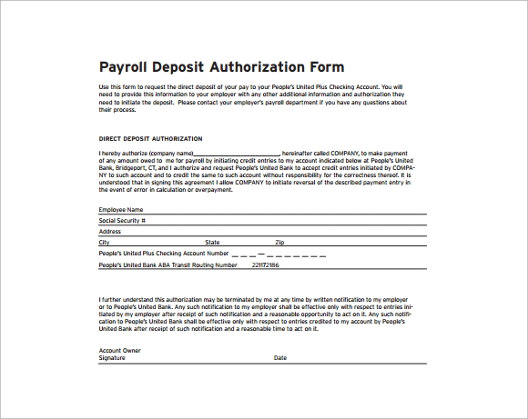 payroll deposit authorization form