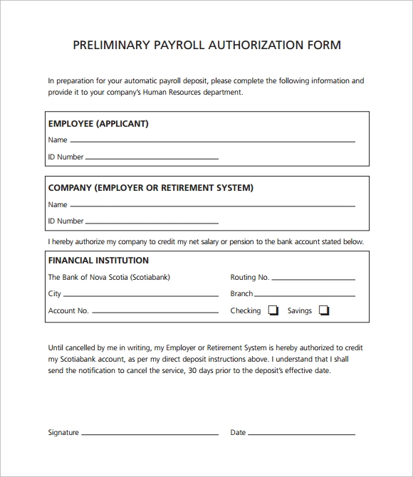 preliminary payroll authorization form