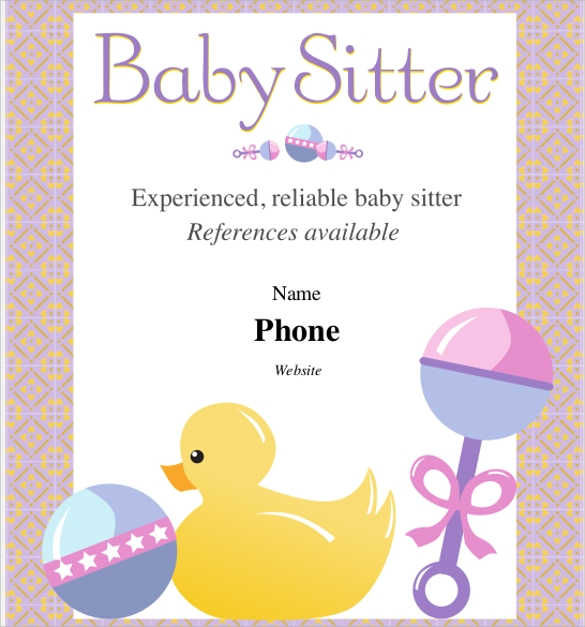 Sample Babysitting Flyer Template