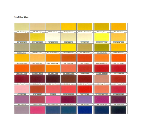 10 Sample RAL Color Chart Templates to Download | Sample ...