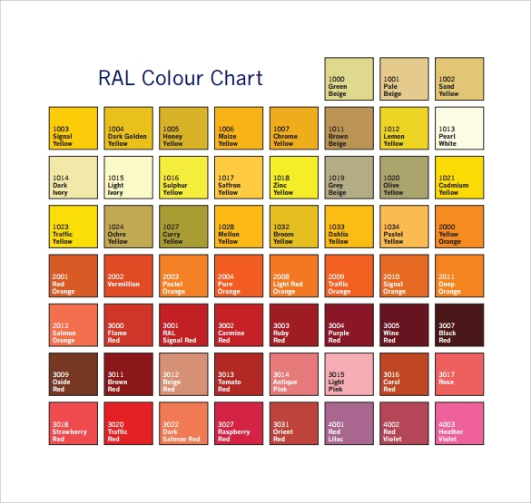 RAL Color Chart 9 Download Free Documents in PDF – Ral Color Chart