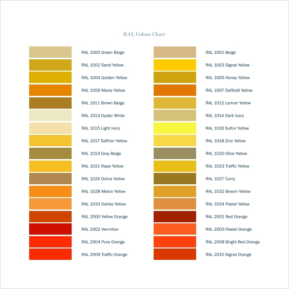 ral colour chart for free