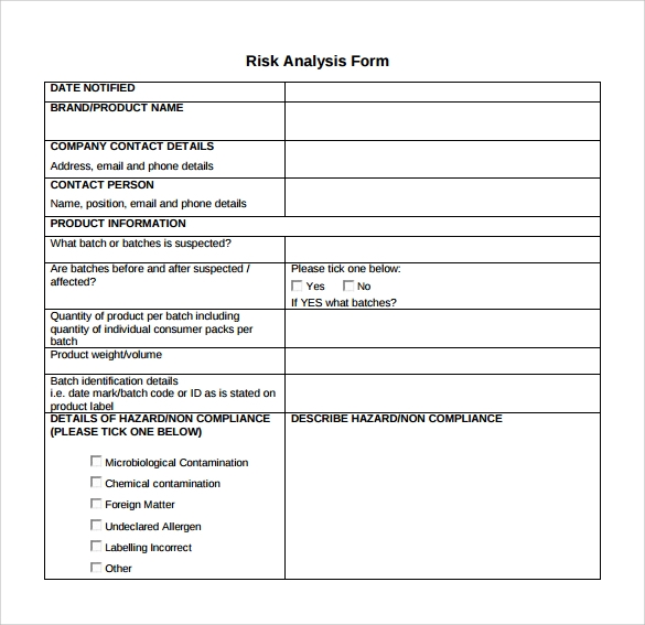 formal risk assessment template - 9 sample risk analysis templates to download sample