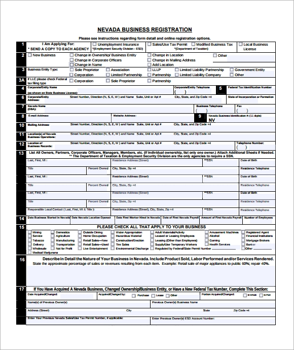 Sample Business Application Form   Free Dcouments Download In Pdf