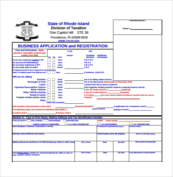 business application and registration form