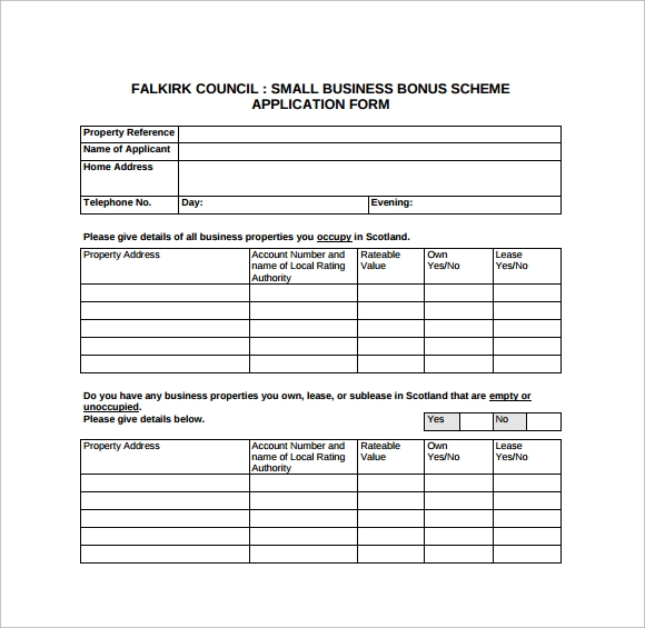 sample business application form