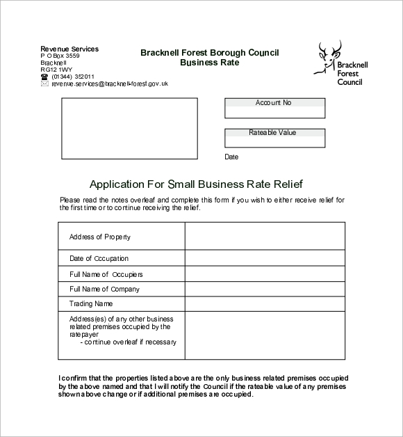 small business rate relief application form