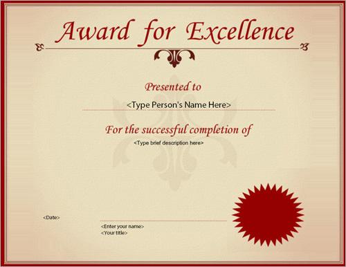 1 award certificate