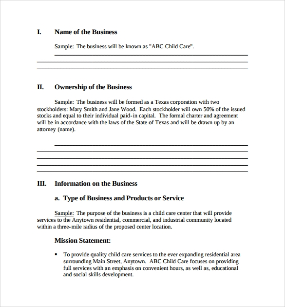 Small Business Plan Template   9  Download Free Documents in PDF Word XaeB4h6M