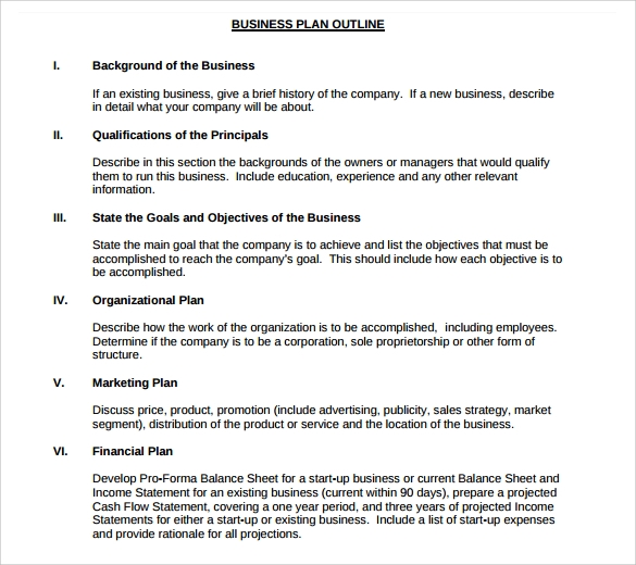 Free Business Plan Outline Template - Business plan format template