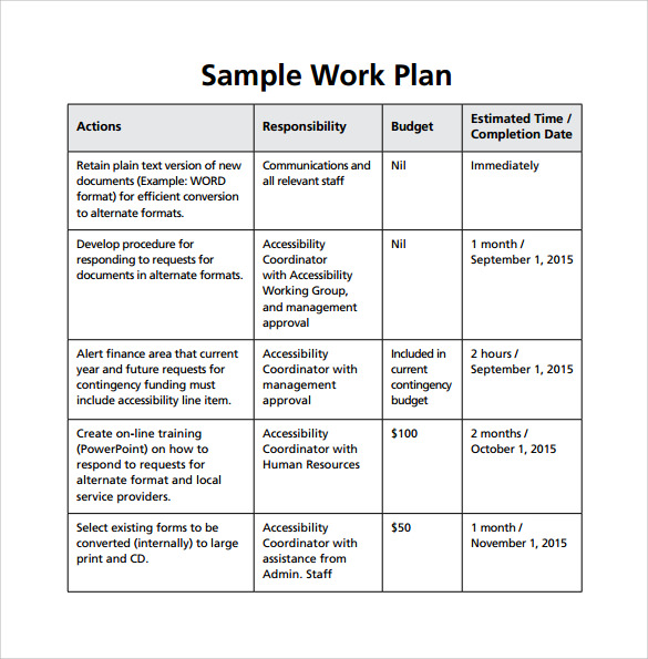 Work Plan Template   Download Free Documents For Word Excel