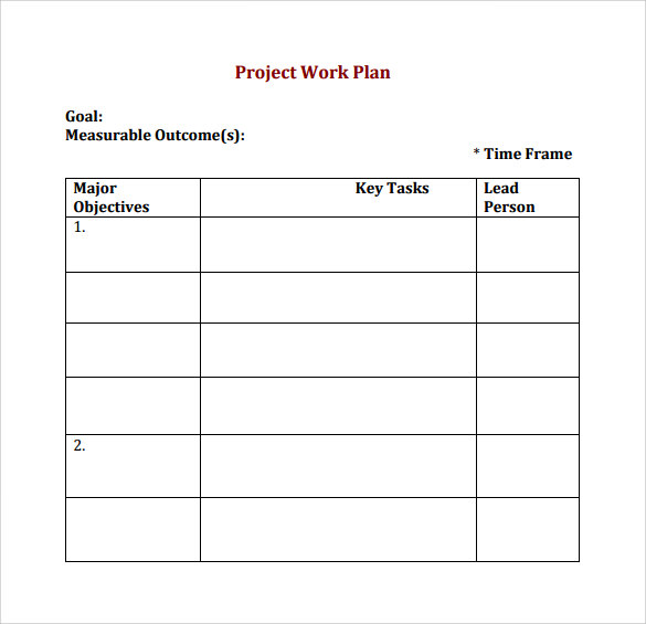 Delightful Project Work Plan Template