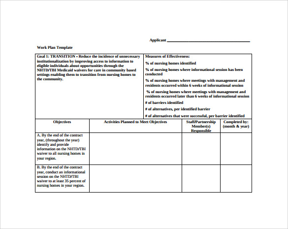 Free Work Plan Template  Plan Template