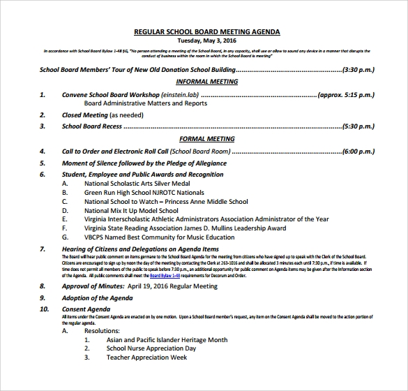 Sample School Agenda   Documents In Pdf Word