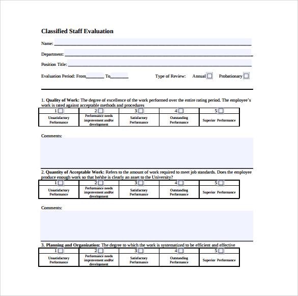 classified staff evaluation template