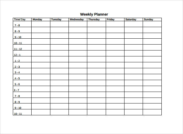 Auto Bill Of Sale Template >> Weekly Agenda Template - 9+ Free Download for PDF , Word