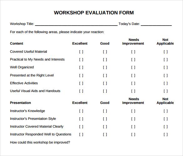 Workshop Evaluation Form U2013 11+ Free Download In PDF