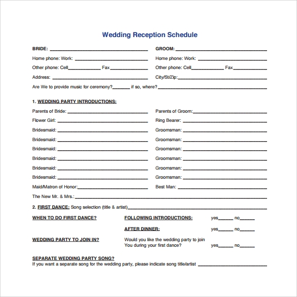 Wedding Agenda 9 Download Free Documents In PDF – Wedding Agenda Template